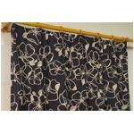 遮光カーテン 2枚組 100×225 ブラック 花柄 形状記憶 洗える アジャスターフック付き タッセル付き ダリル