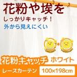 花粉キャッチレースカーテン 2枚組 100×198 ホワイト 防汚 ミラーレースカーテン  洗える アジャスターフック付き アスル