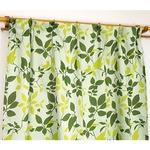 遮光カーテン 2枚組 100×200 グリーン リーフ柄 タッセル付き アジャスターフック付き シトラス