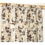 遮光カーテン 2枚組 100×200 ベージュ リーフ柄 タッセル付き アジャスターフック付き シトラス