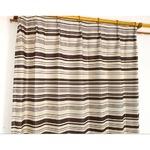 遮光カーテン 1枚のみ 150×225 ブラウン ボーター柄 タッセル付き アジャスターフック付き レトロライン