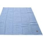 デニム生地 ラグマット/絨毯 【185cm×185cm ライトブルー】 正方形 綿100% ストライプ柄 キルティング 洗える 『ジーンズ』
