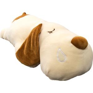 もちもちクッション/いぬ抱き枕 【32cm×58cm ホワイト】 シリコン綿 洗える 『イヌダキマクラ』 〔リビング〕  - 拡大画像