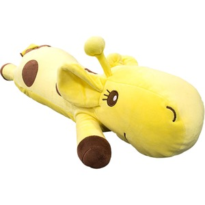 もちもちクッション/キリン抱き枕 【28cm×70cm イエロー】 シリコン綿 洗える 『キリンダキマクラ』 〔リビング〕  - 拡大画像