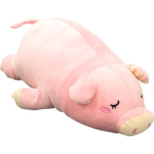 もちもちクッション/ブタ抱き枕 【36cm×70cm ピンク】 シリコン綿 洗える 『ブタダキマクラ』 〔リビング〕  - 拡大画像