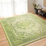 い草ラグ 191×250 3畳 グリーン 花柄 ラグマット エクセレント