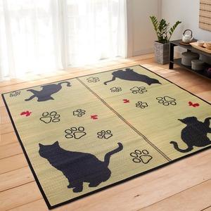 猫柄 い草ラグマット/絨毯 【176cm×230cm 3畳 ブラック】 長方形 空気清浄 除湿効果 『キャット』 〔リビング〕 - 拡大画像