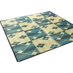 い草ラグ 261×352 江戸間 6畳 ブルー ダイヤ柄 和風 ラグマット ダイヤ