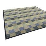 い草ラグ ボリュームタイプ 180×240 3畳 ブルー 格子柄 ふっくら ラグマット 民芸格子
