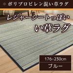 い草ラグ 176×230 3畳 ブルー レジャーシート ポリプロピレン混 ラグマット Pモザイク