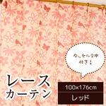 レースカーテン 2枚組 【100cm×176cm レッド】 鳥 蝶 花柄 洗える タッセル付き 『シルエットバード』 〔リビング〕