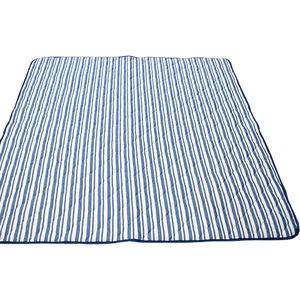 接触冷感 ラグマット/絨毯 【185cm×185cm ネイビー】 ストライプ柄 洗える 防音効果 『冷感ストライプ』 〔リビング〕 - 拡大画像