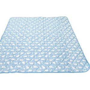 接触冷感 ラグマット/絨毯 【185cm×185cm ブルー】 白くま柄 洗える 防音効果 『冷感白くま』 〔リビング〕 - 拡大画像