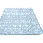 接触冷感 ラグマット/絨毯 【185cm×185cm ブルー】 白くま柄 洗える 防音効果 『冷感白くま』 〔リビング〕