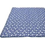 接触冷感 ラグマット/絨毯 【185cm×240cm ネイビー】 白くま柄 洗える 防音効果 『冷感白くま』 〔リビング〕