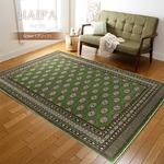 カーペット ラグ 185×185 グリーン モケット織 絨毯 ラグマット 抗菌 防臭 ハイファ