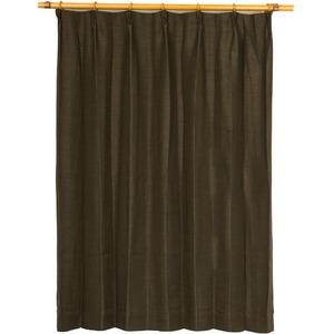カーテン 2枚組 2枚セット 2P 防炎 2級遮光 100×丈200cm ブラウン アール 九装 - 拡大画像