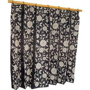 カーテン 2枚組 2枚セット 2P 防炎 2級遮光 100×丈225cm ブラック ダリア - 拡大画像