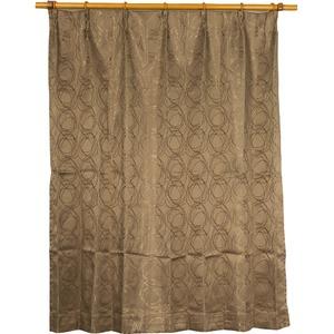 カーテン 2枚組 2枚セット 2P 2重加工 円柄 100×丈200cm ブラウン カールス