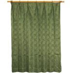 カーテン 2枚組 2枚セット 2P 2重加工 円柄 100×丈215cm ダークグリーン カールス