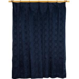カーテン 2枚組 2枚セット 2P 2重加工 円柄 100×丈225cm ネイビー カールス