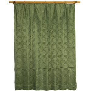 カーテン 洗える ウォッシャブル 洗える 2重加工 円柄 200×丈178cm ダークグリーン カールス