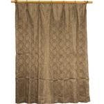 カーテン 洗える ウォッシャブル 洗える 2重加工 円柄 200×丈225cm ブラウン カールス