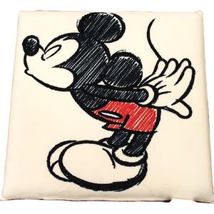 ディズニー ミッキー クッション 40×40cm アイボリー ミッキー手描き風 キス柄