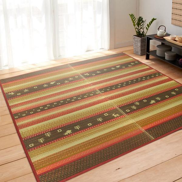 い草 ラグ ラグマット 191×250cm 3畳 レッド ギャベ ギャベ