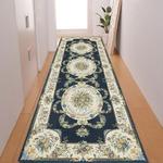 廊下敷き プリント 80×330cm ブルー ルヴァンス