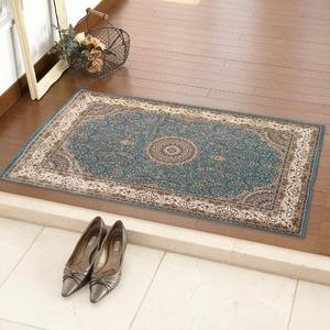 玄関マット 室内 プリント 70×120cm ブルー スタン2 - 拡大画像