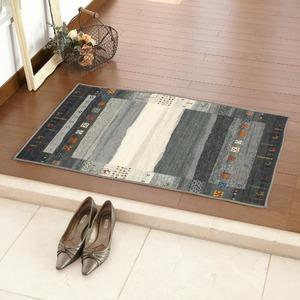玄関マット 室内 プリント 50×80cm ブラック ギャベ3 - 拡大画像
