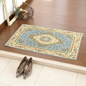玄関マット 室内 プリント 60×90cm ブルー ソロモン - 拡大画像