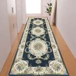 廊下敷き プリント 80×240cm ブルー ルヴァンス