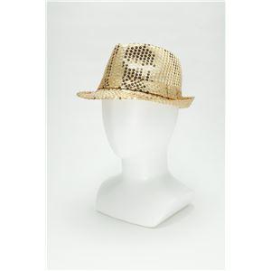 【コスプレ】 スパンコールハット /帽子 【ゴールド】 ポリエステル製 頭囲約60cm 〔イベント 仮装 舞台小物〕