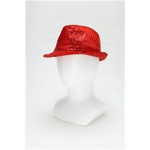【コスプレ】 スパンコールハット /帽子 【レッド】 ポリエステル製 頭囲約60cm 〔イベント 仮装 舞台小物〕