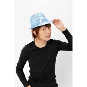 【コスプレ】 スパンコールハット /帽子 【ライトブルー】 ポリエステル製 頭囲約60cm 〔イベント 仮装 舞台小物〕