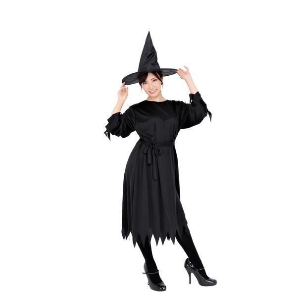 シンプルな魔女衣装(黒・ブラック/ロング丈)「ブラックウィッチ」