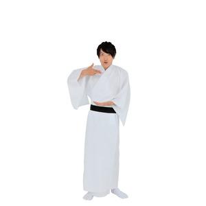 【コスプレ】 カラフル着流し/着物 【ホワイト】 着丈:約147cm ポリエステル100% 〔イベント 仮装 舞台小物〕