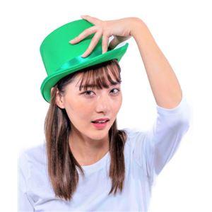 シルクハット/パーティーグッズ 【グリーン】 ナイロン製 頭囲約60cm 〔コスプレ 仮装 舞台小物〕 - 拡大画像