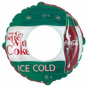 浮き輪 【90cm】 コカ・コーラ グリーン柄 塩化ビニール樹脂製 〔プール ビーチ 海外旅行〕 - 拡大画像