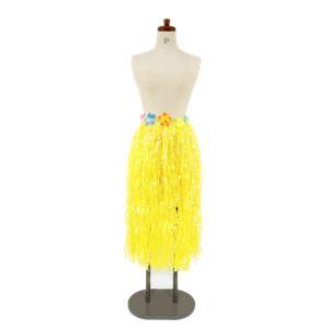 【コスプレ/パーティーグッズ】 ハワイアンスカート 着丈約78cm イエロー 【×2セット】 - 拡大画像