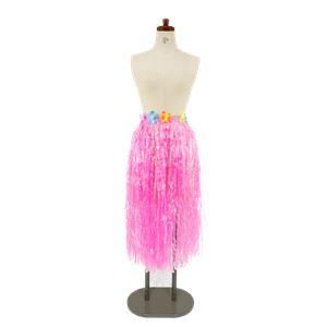 【コスプレ/パーティーグッズ】 ハワイアンスカート 着丈約78cm ピンク 【×2セット】 - 拡大画像