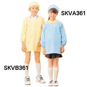 学童 給食着 【割烹着型 ブルー 8号】 着丈95cm 綿 ポリエステル 袖口ゴム 右腰ポケット 首後ゴム 腰マジックテープ調整付き SKVA361