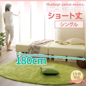 ショート丈 脚付きマットレスベッド 脚15cm シングル 3ゾーン構造(ポケットコイル使用) 『スリープゾーン ミニ』 アイボリー 分割式 【1年保証】  - 拡大画像