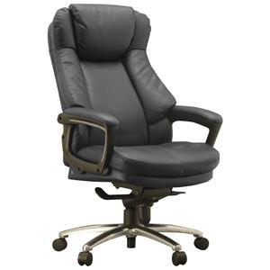ハイバックオフィスチェア/デスクチェア 【ブラック】 座面ポケットコイル使用 張地:合成皮革 肘付き 『スリンスキー』 - 拡大画像