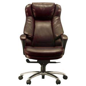 ハイバックオフィスチェア/デスクチェア 【ダークブラウン】 座面ポケットコイル使用 張地:合成皮革 肘付き 『スリンスキー』 - 拡大画像