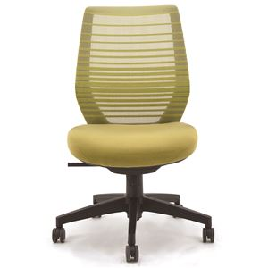 座面昇降式オフィスチェア/デスクチェア 【肘なし×グリーン】 メッシュ素材 リクライニング キャスター付き 『ビートル』