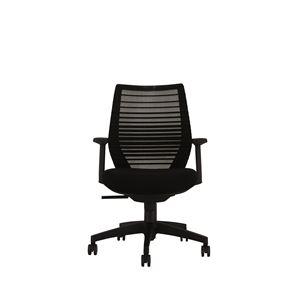 座面昇降式オフィスチェア/デスクチェア 【肘付き×ブラック】 メッシュ素材 リクライニング キャスター付き 『ビートル』