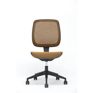 座面昇降式オフィスチェア/デスクチェア 【メッシュ素材×オレンジ】 キャスター付き 『ブリーズ』 - 拡大画像